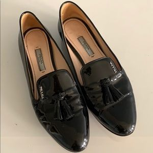 Prada patent leather black loafers
